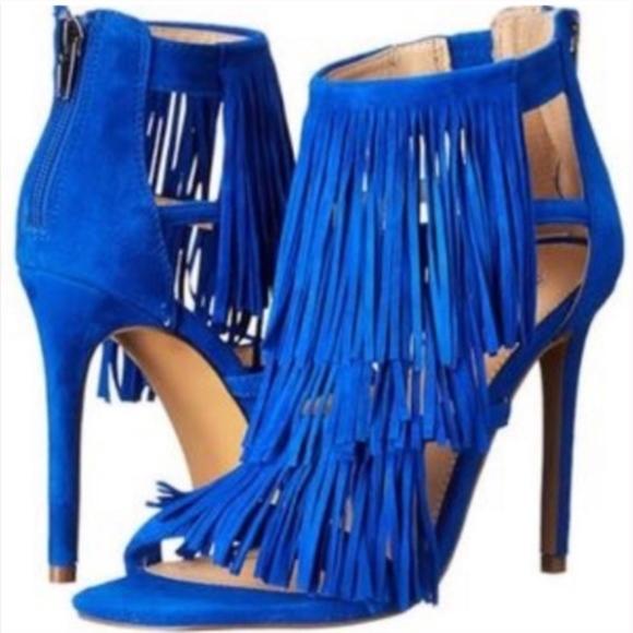 686c9466641 Steve Madden Fringly blue suede heels